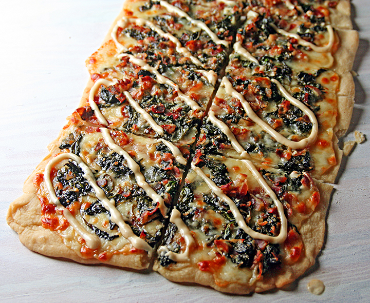 Spinach, Pancetta, and Provolone Flatbread with Roasted Garlic Aioli