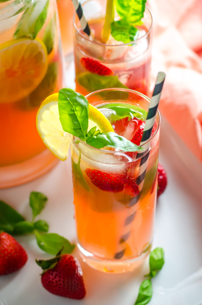Strawberry Basil Spiked Lemonade. This vodka-spiked cocktail is fruity, refreshing, and perfect for summer.   hostthetoast.com