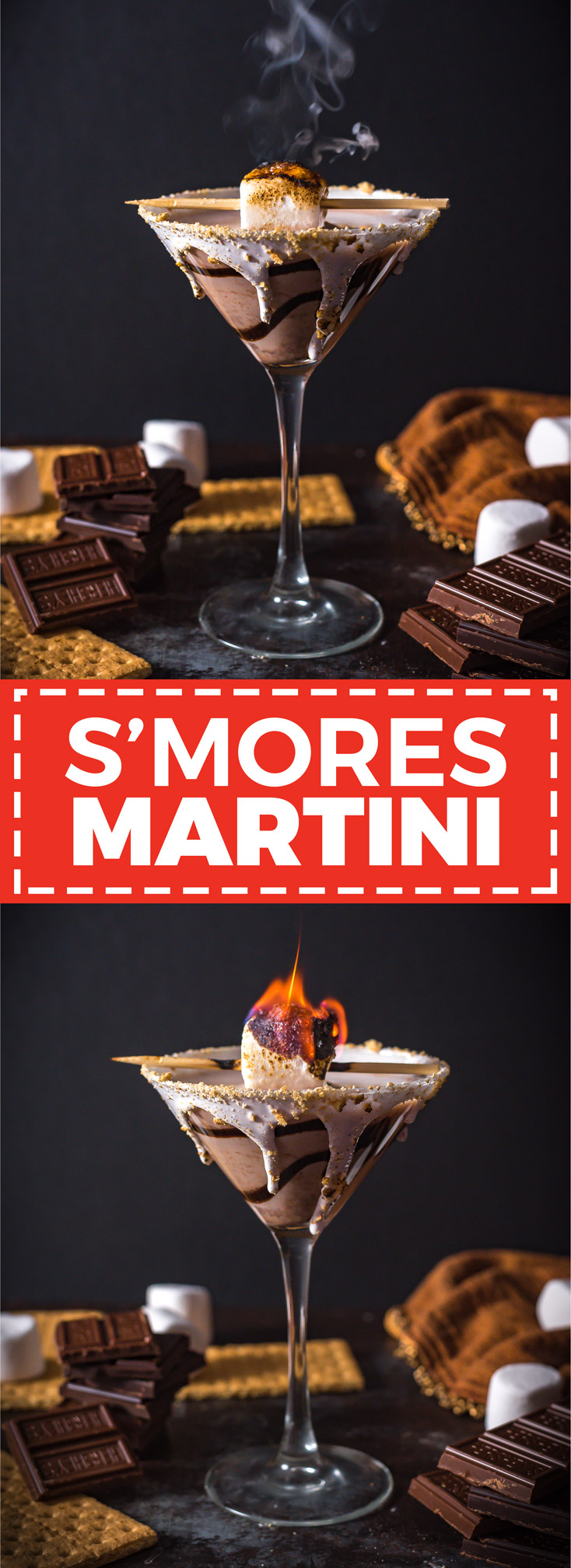 S'mores Martini. This creamy, chocolatey cocktail tastes like a boozy version of your favorite campfire treat. | hostthetoast.com
