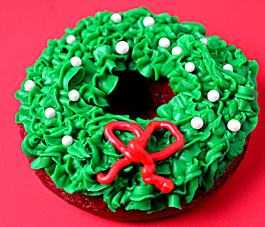 Red Velvet Wreath Cakes with Colorful Cream Cheese Frosting