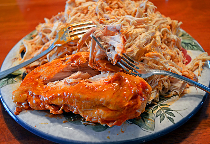 Simple Slow Cooker Shredded Buffalo Chicken