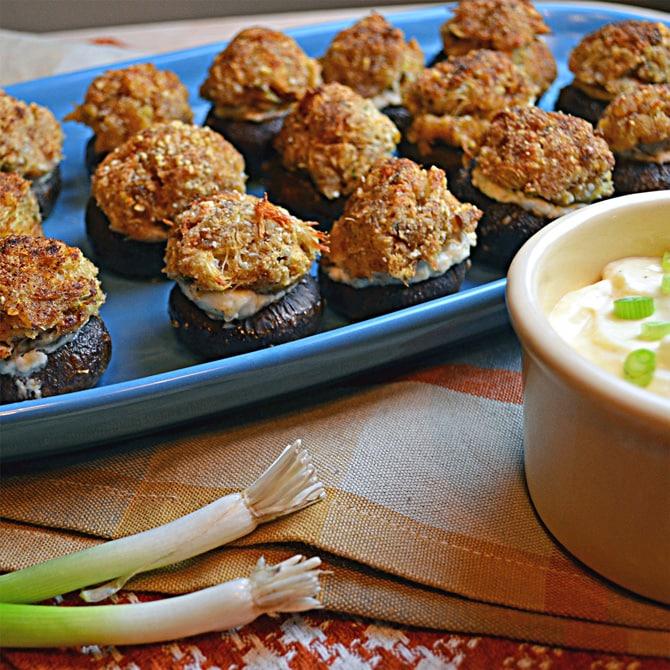 Crab Cake and Garlic Cream Cheese Stuffed Mushrooms