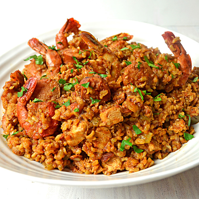 Chicken, Shrimp, and Sausage Jambalaya - Host The Toast