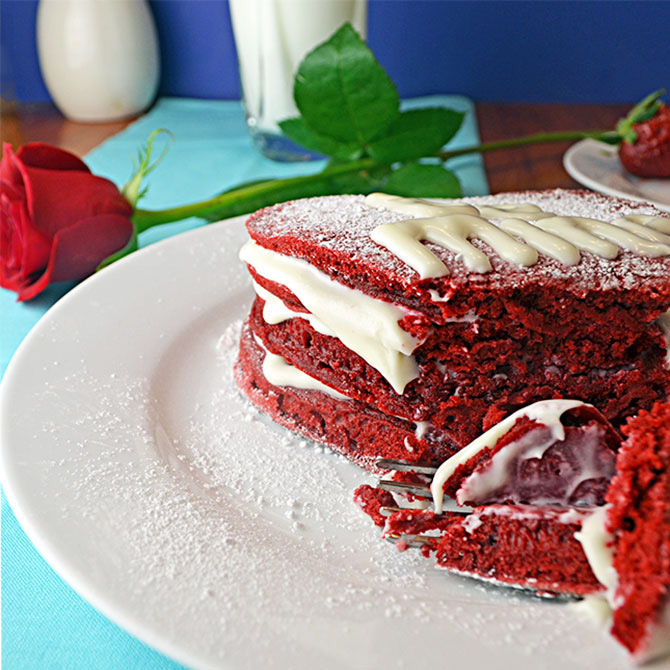 "Red Velvet Pancakes with Cream Cheese Frosting ""Syrup"""