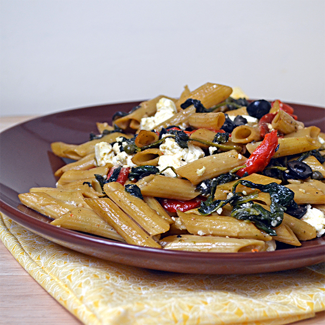 Pasta Greco-- Penne with feta cheese, spinach, olives, capers, and roasted red peppers