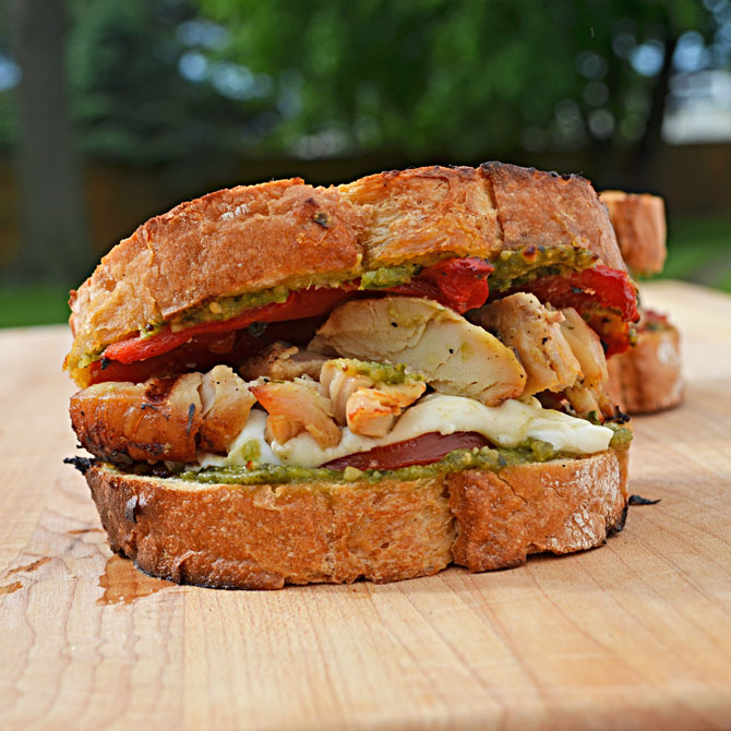 Grilled Chicken Pesto Sandwiches