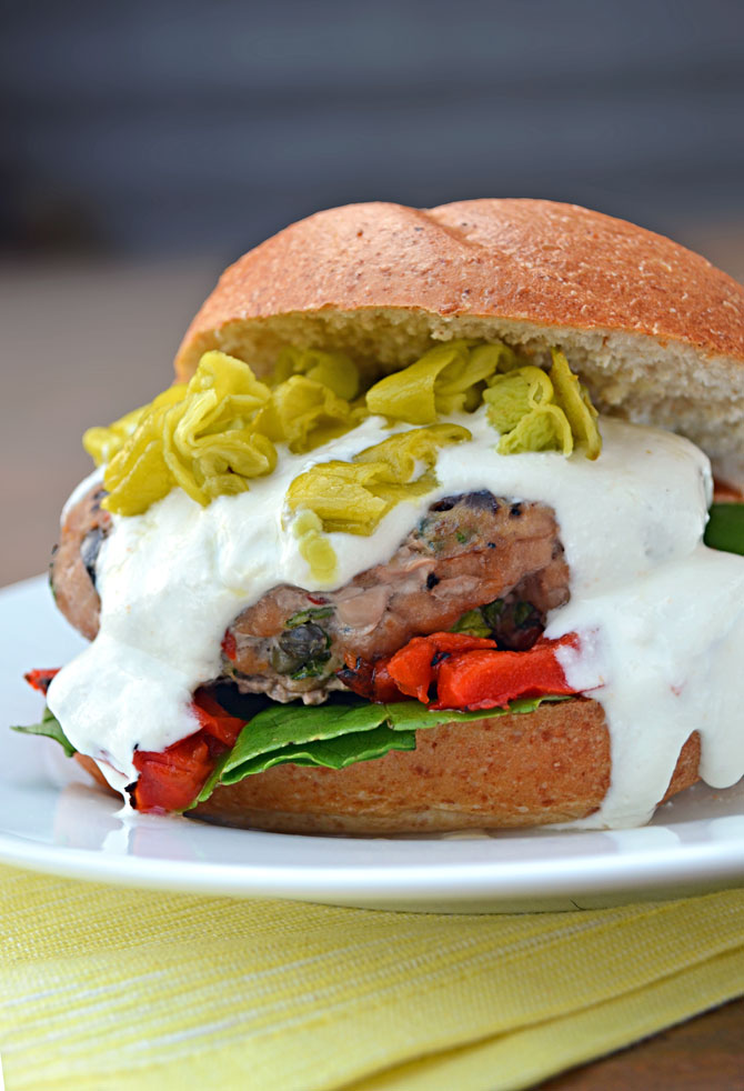 Greek Tyrkey Burger with Feta-Yogurt Sauce