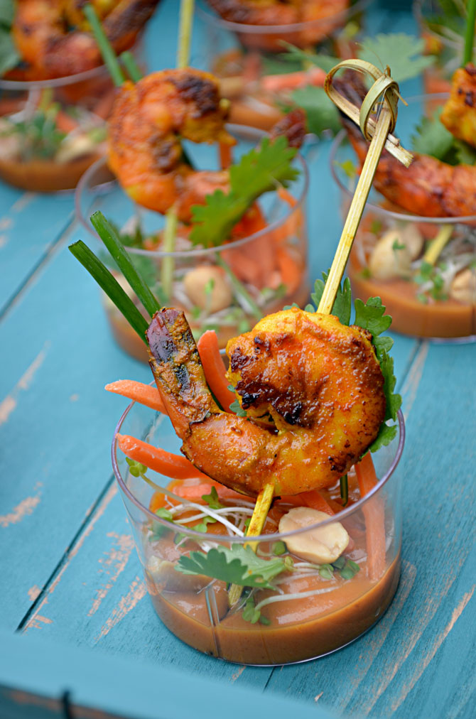 Shrimp Satay Skewer Shooters with Thai Spicy Peanut Sauce - Host The ...