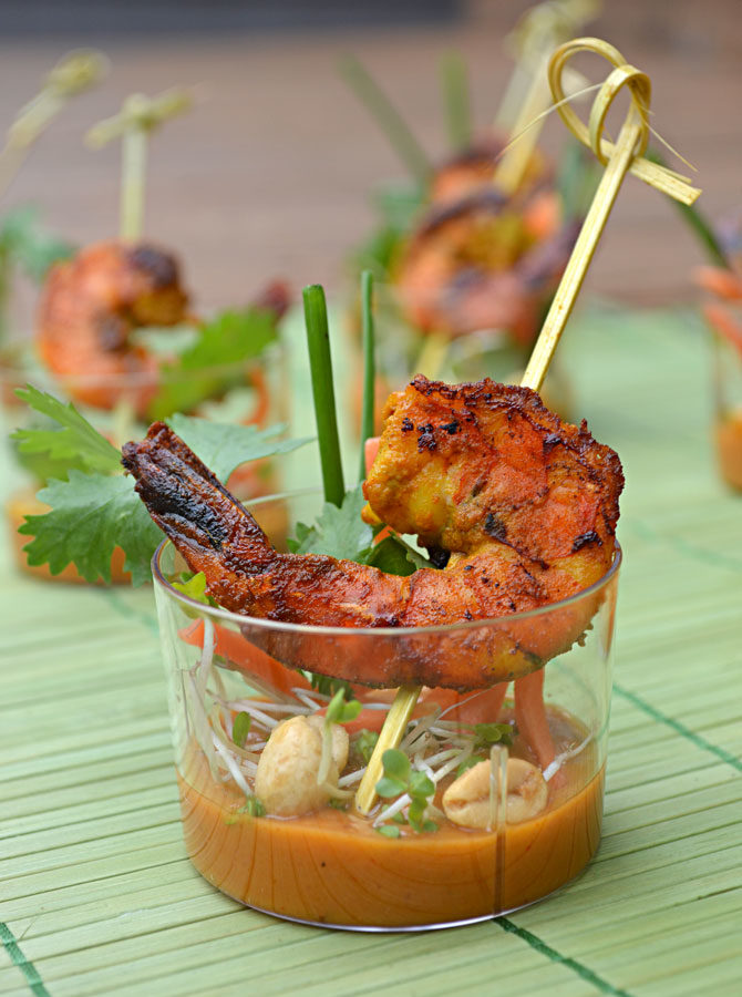 Shrimp Satay Skewer Shooters with Thai Spicy Peanut Sauce