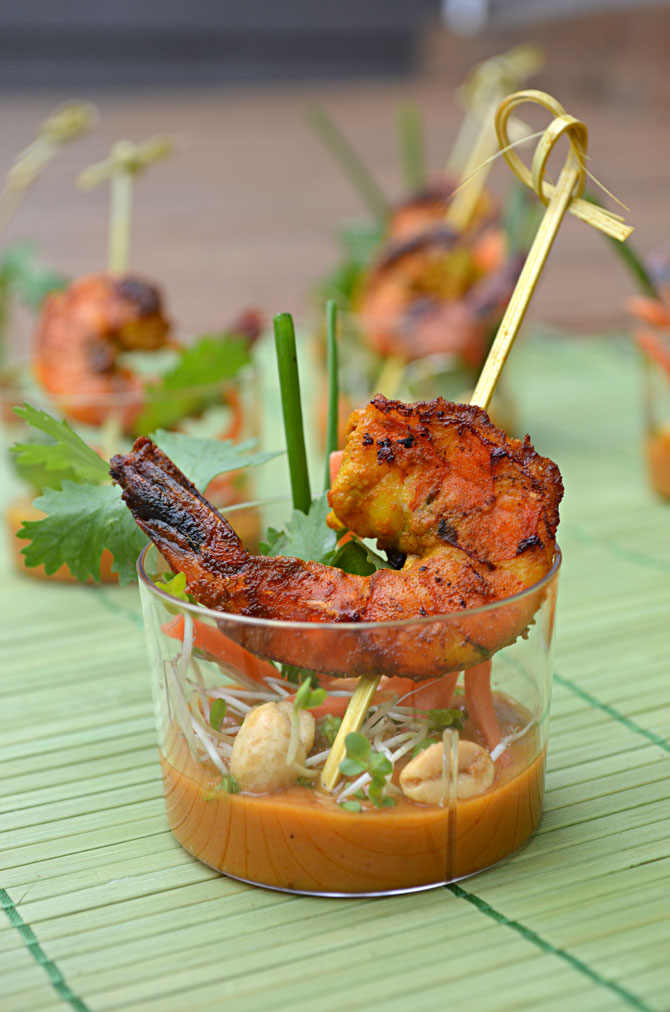 ... Satay Skewer Shooters with Thai Spicy Peanut Sauce - Host The Toast