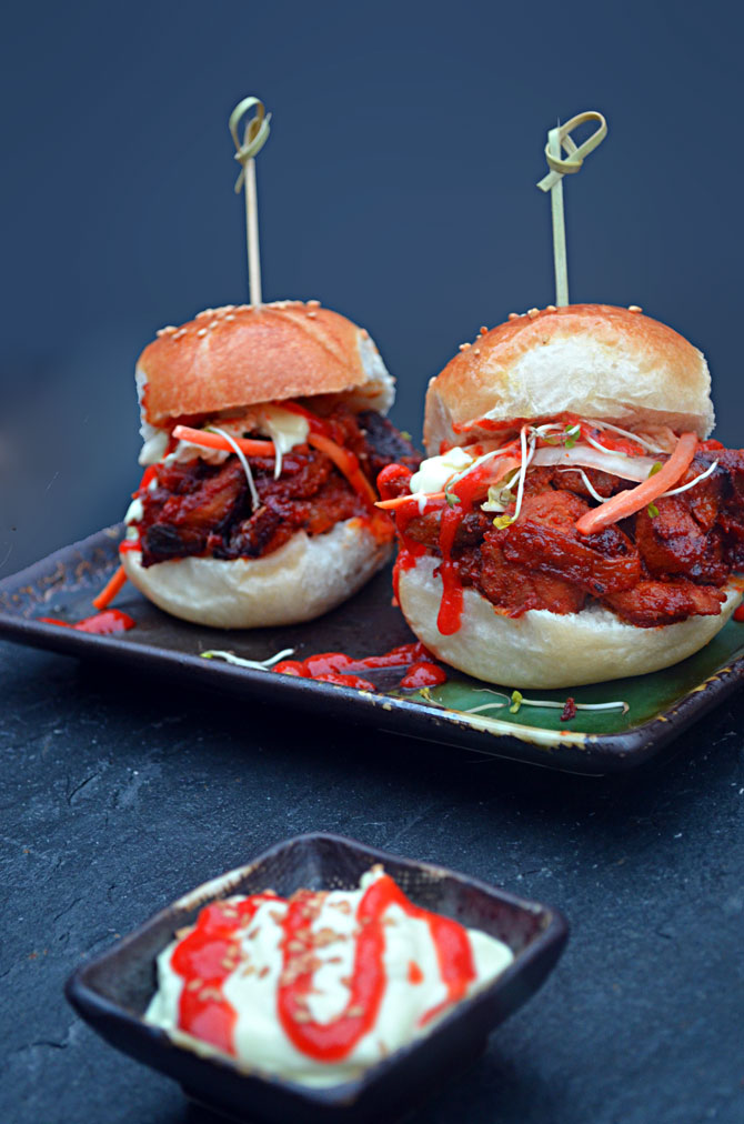Spicy Pork Bulgogi Sliders.  Perfect for football season!