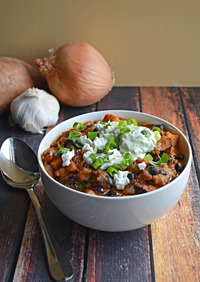 Sweet Potato Chorizo Chili with Poblano-Avocado Crema and Goat Cheese