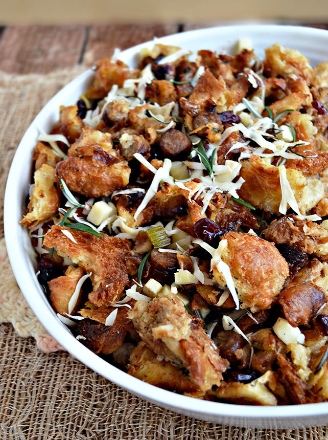 Croissant-Sausage Stuffing