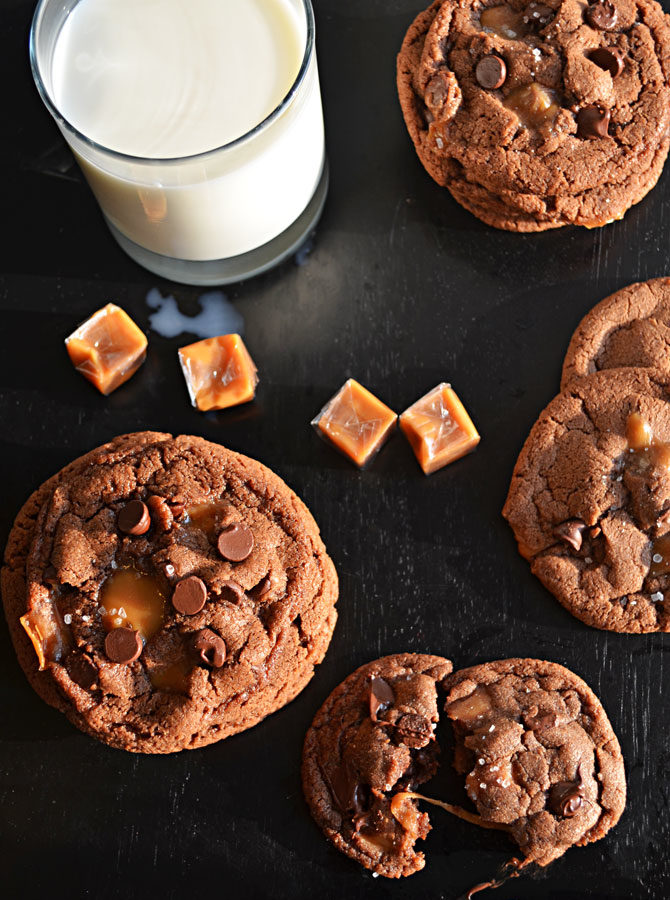 Salted and Malted Nutella Caramel Cookies