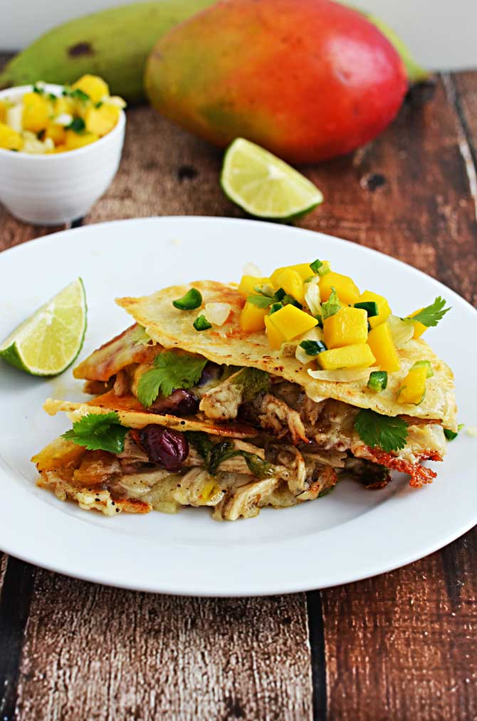 Jamaican Jerk Chicken Quesadillas.  I'm in love with these INSANELY FLAVORFUL quesadillas.  They have tostones in them.  How can you resist?