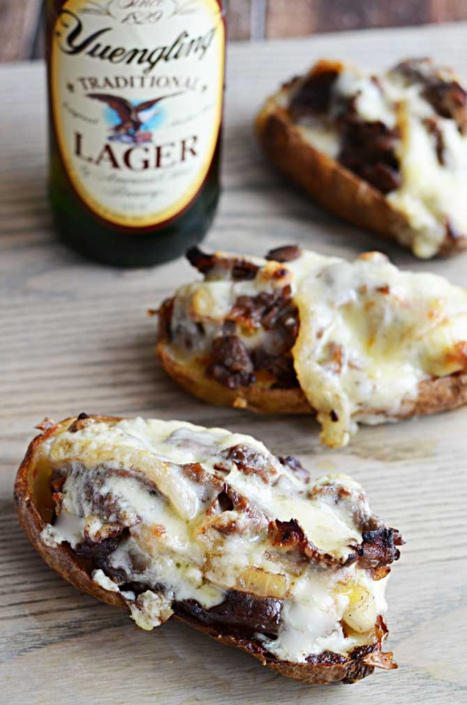 Cheesesteak Potato Skins.  These appetizers are so tasty and pretty simple to put together!