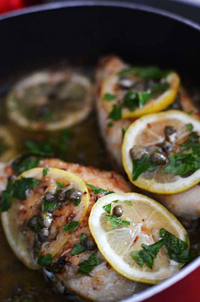 "Spinach and Ricotta Stuffed ""Chicken Piccata"""