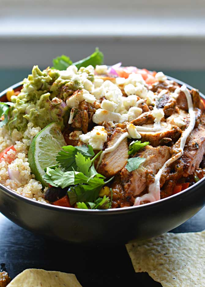 Chipotle-Pesto Chicken Burrito Bowl with Cilantro Lime Rice or Quinoa.  YUM!  Super flavorful, and tastier than you can get from Chipotle! | hostthetoast.com