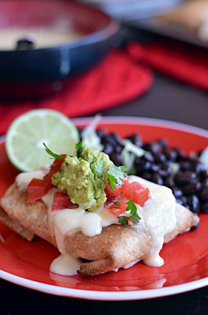 Baked Chicken Chimichangas with Monterey Jack Cheese Sauce