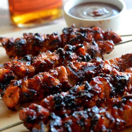 Bacon Bourbon BBQ Chicken Kebabs.  Probably the best grilled recipe EVER.