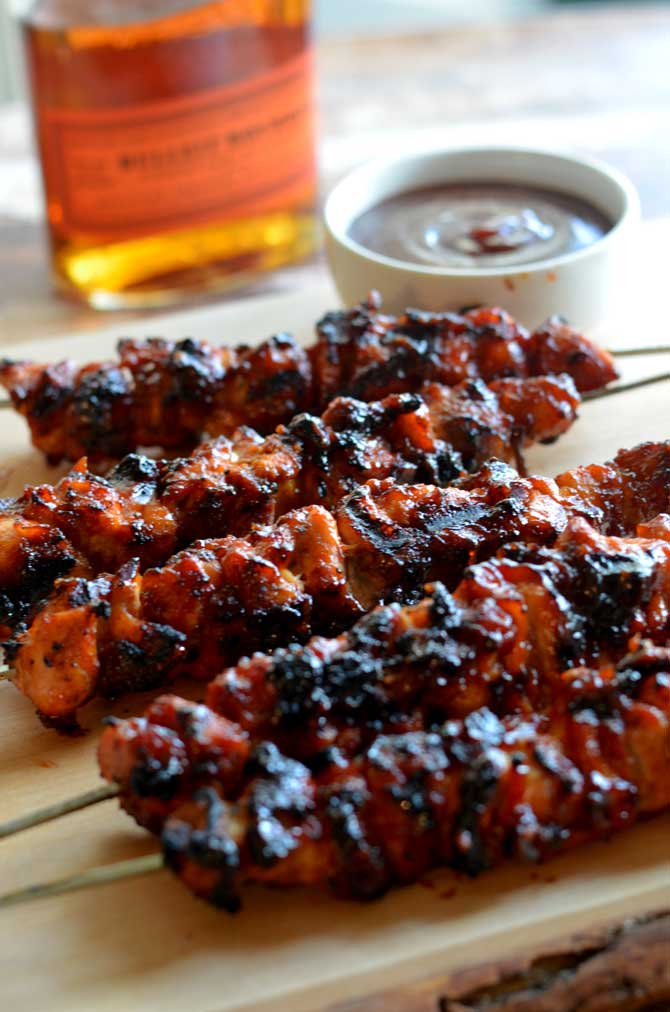 Bacon Bourbon BBQ Chicken Kebabs