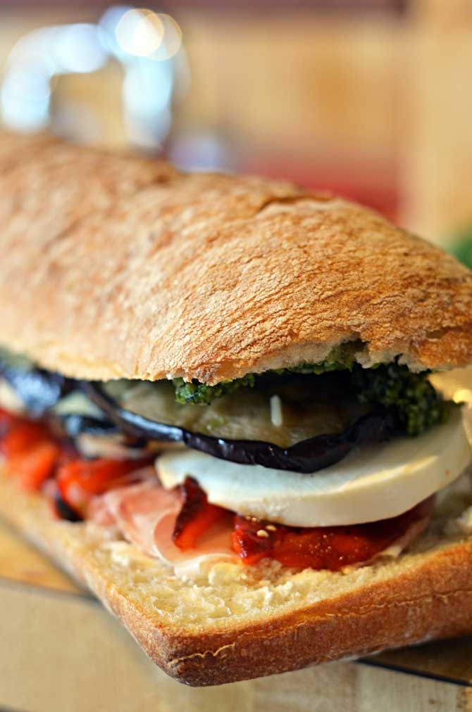 Eggplant, Prosciutto, and Pesto Pressed Picnic Sandwiches- Eggplant, Prosciutto, and Pesto Pressed Picnic Sandwiches- perfect for your summer picnics, BBQs, and more! | hostthetoast.com