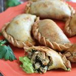 Chicken, Spinach, & Poblano Empanadas with Avocado-Jalapeno Dip