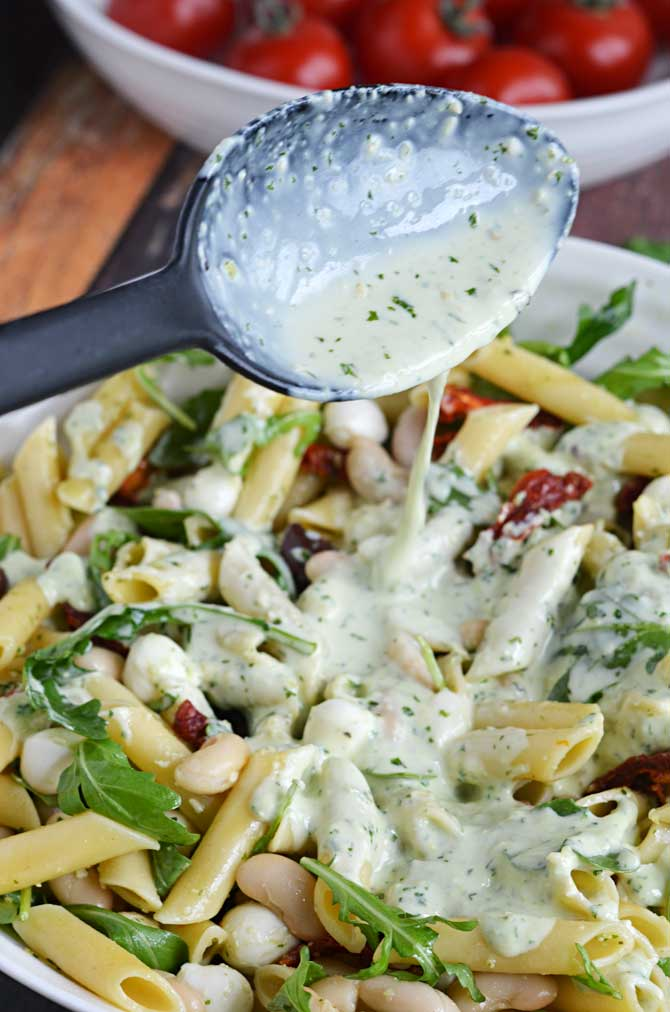 Creamy Pesto Pasta Salad! Perfect For Your Summer BBQs, Picnics, And Get