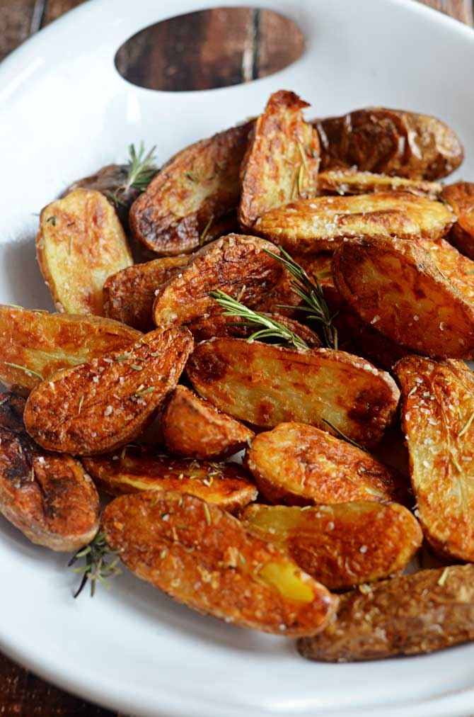 Crispy Sea Salt and Vinegar Roasted Potatoes. These are so crisp and ...