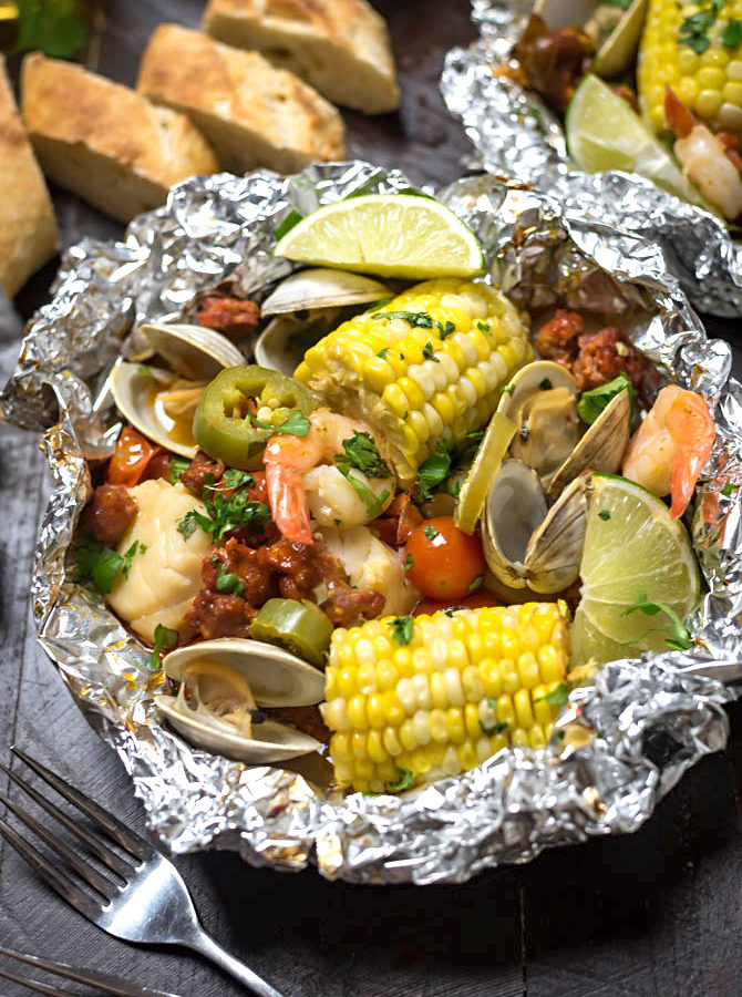 Cilantro-Garlic-Lime Seafood Packets