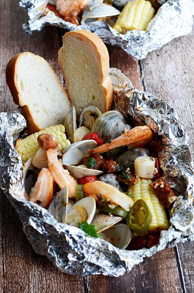 Cilantro-Garlic-Lime Seafood Packets. Shrimp, scallops, clams, chorizo ...
