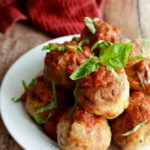 Mozzarella-Stuffed Chicken Parm Meatballs