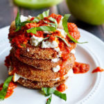 Fried Green Tomatoes with Goat Cheese and Roasted Red Pepper Vinaigrette