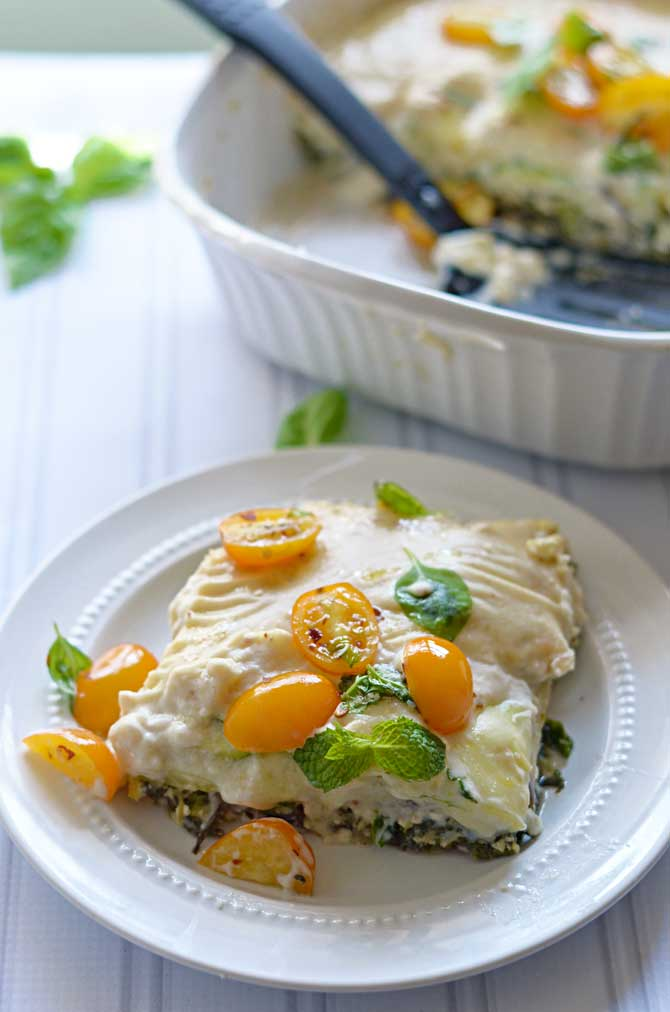 Mediterranean Vegetable Lasagna- With eggplant, zucchini, and spinach, this no-noodle lasagna is sure to become a flavorful favorite! | hostthetoast.com