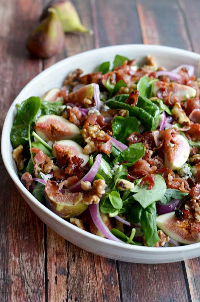 Fig, Blue Cheese, and Walnut Salad with Warm Bacon Dressing - Host The ...