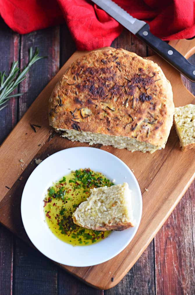 Rosemary Olive Oil Crock Pot Bread, Take 2!  Plus a recipe for Olive Oil Herb Dip