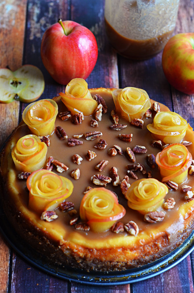 Salted Caramel Apple Cheesecake with Apple Roses. One of the prettiest ...