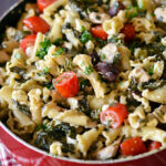 One Pot Greek Chicken Pasta with Creamy Feta Wine Sauce