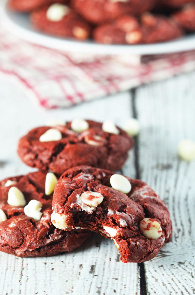 Red Velvet Cream Cheese Swirl Cookies.  So soft and chewy and perfect for Christmas or Valentine's Day! | hostthetoast.com