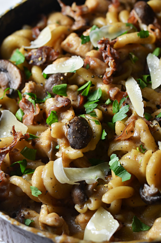 Creamy Chicken Marsala Pasta. You cook the noodles, sauce, and chicken ...