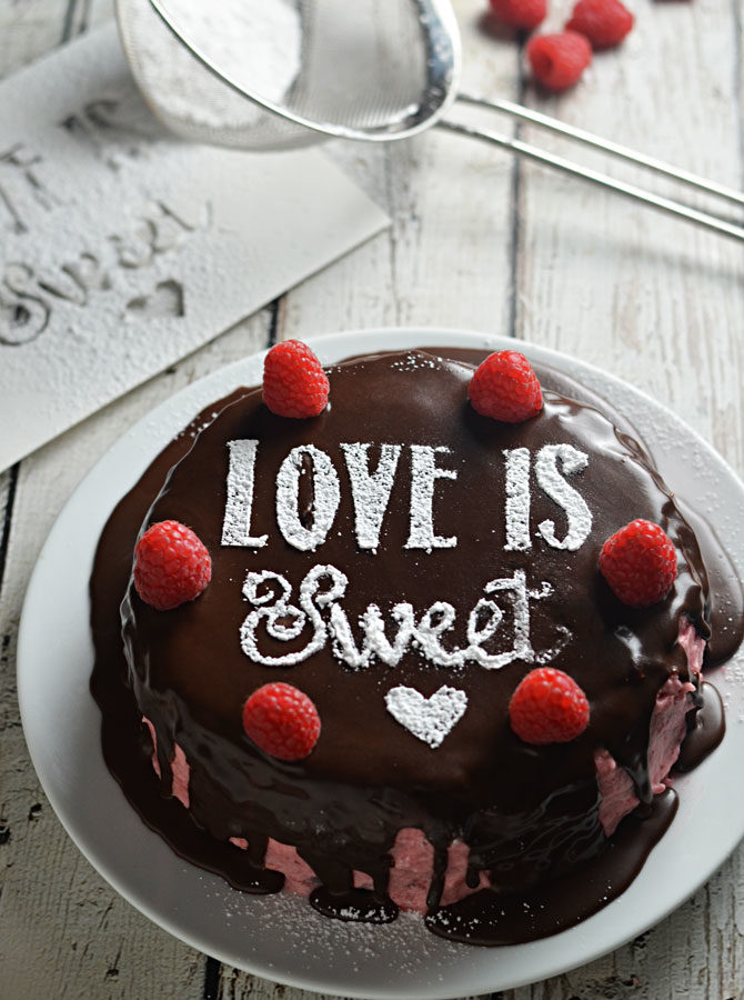 Sugar Stenciled Raspberry Dark Chocolate Cake