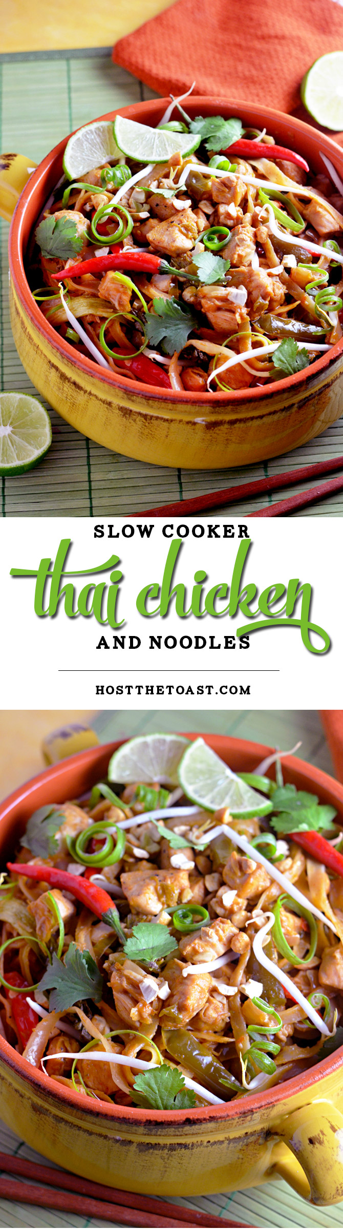Slow Cooker Thai Chicken and Noodles. The chicken and noodles cook right in the sauce in this flavorful crock pot dish! | hostthetoast.com