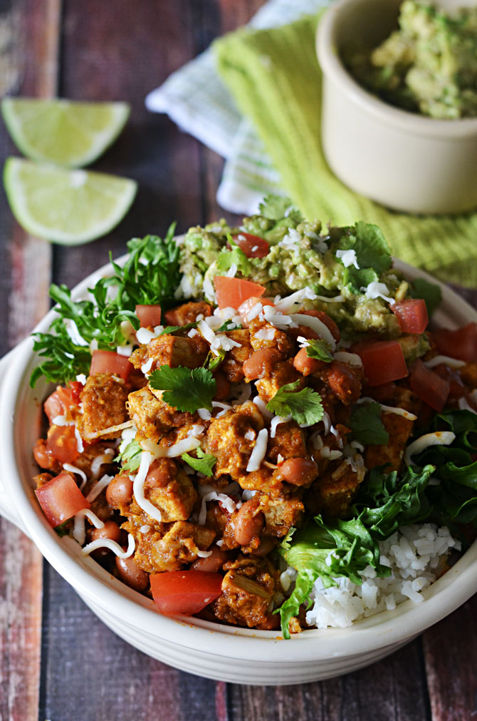 Sofritas Tofu Burrito Bowls. Even better than the ones at Chipotle, and easy/cheap to make at home! | hostthetoast.com