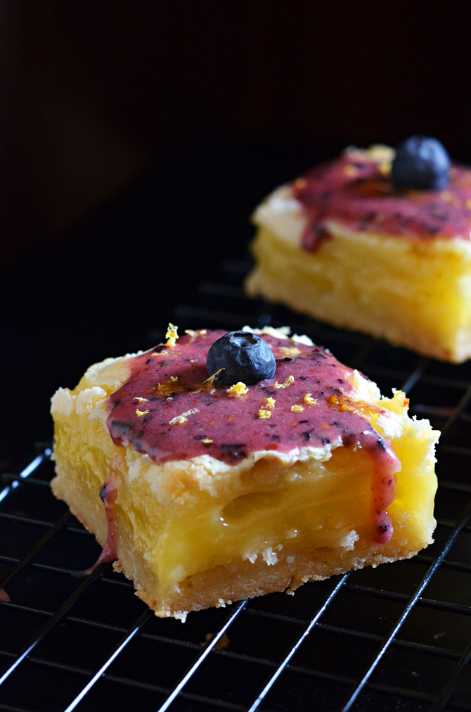 Gooey Lemon Bars with Blueberry Glaze