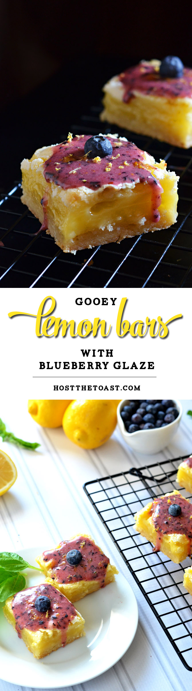 Gooey Lemon Bars with Blueberry Glaze. Tangy, sweet, rich, gooey, and out of this world. | hostthetoast.com