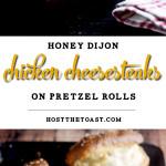 Honey Dijon Chicken Cheesesteaks on Pretzel Rolls