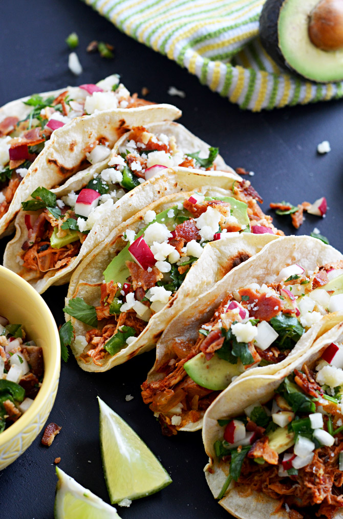 Crock Pot Chicken Tinga Tacos with Bacon Pico de Gallo. Big on flavor, low on effort! | hostthetoast.com