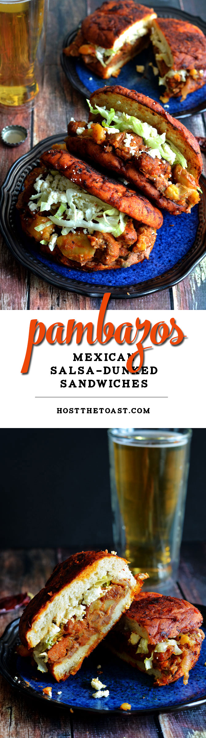 Pambazos (Mexican Salsa-Dunked Sandwiches). They're filled with potatoes, chorizo sausage, and refried beans! | hostthetoast.com