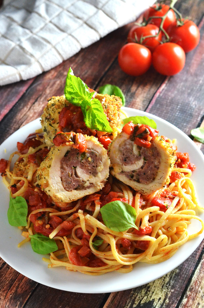 Sausage-Stuffed Chicken Rollatini with Roasted Red Pepper Tomato Sauce