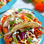 Chipotle-Pineapple Fish Tacos with Rainbow Pepper Slaw